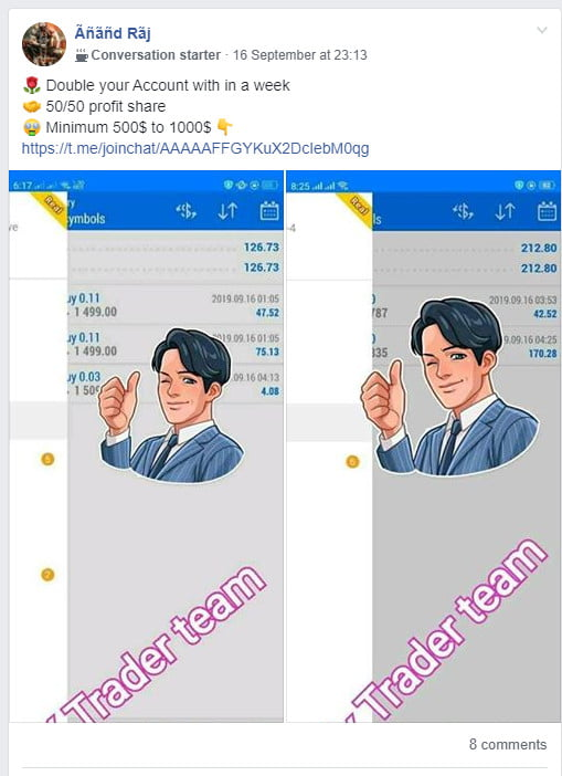 showing trader promotion